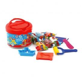 خمیر بازی سطلی 6 رنگ آریا مدل 1001