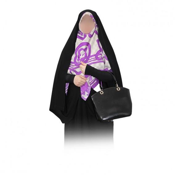چادر کمری قجری دستک کوتاه با پارچه چادر مشکی حریراسود ایرانی