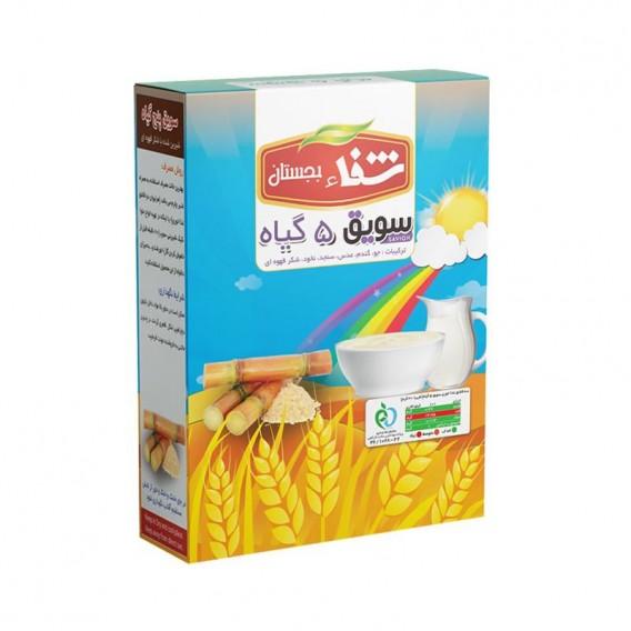 سویق کودک 5 گیاه شفا با شکر قهوه ای 200 گرمی رؤیای سلامت