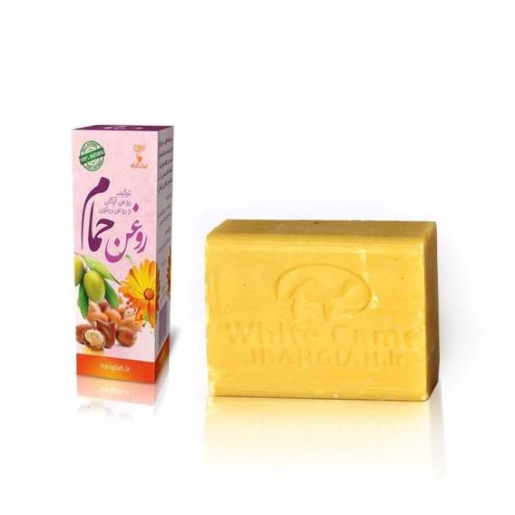 صابون سنتی شیر شتر و عصاره لیمو ایران گیاه با روغن حمام