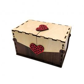 جعبه جواهر و هدیه چوبی دودر طرح قلب بالسا