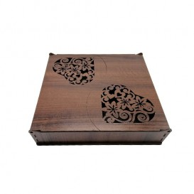 جعبه دمنوش چوبی بزرگ طرح قلب بالسا
