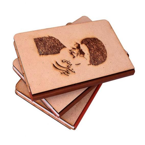 دفتر 100 برگ جلد چوبی، طرح شهدا لیزر شده، ته چسب چرم