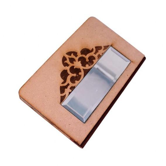 دفتر 100 برگ جلد چوبی آینه دار، لیزر شده، ته چسب چرم