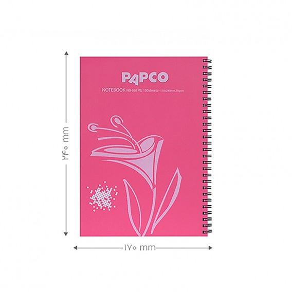 دفتر طرح دار 100 برگ جلد مقوایی فنر دوبل پاپکو مدل NB-661PB-RD