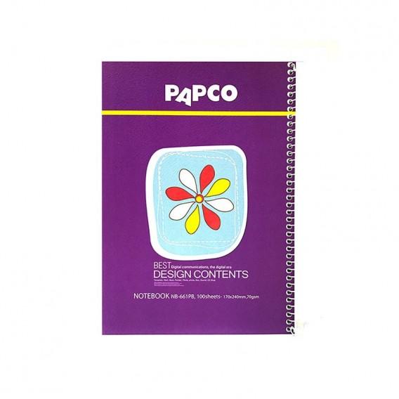 دفتر طرح دار 100 برگ جلد مقوایی فنر گرد پاپکو مدل NB-661PB-R