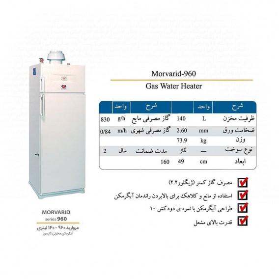 آبگرمکن گازی 140 لیتری سایواگستر ایران شرق مدل مروارید 960 یخچالی زمینی ایستاده